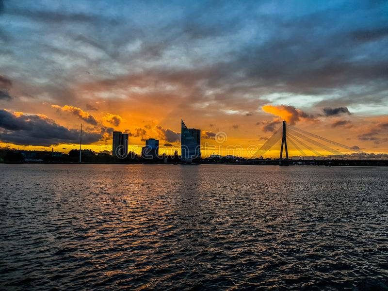 Riga in the sunset from birds view. Towers royalty free stock images