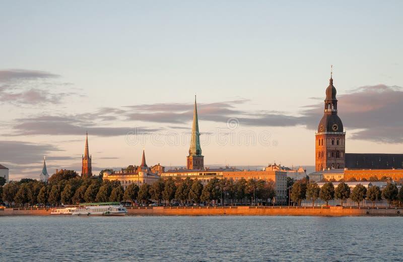 Riga at sunset royalty free stock photography