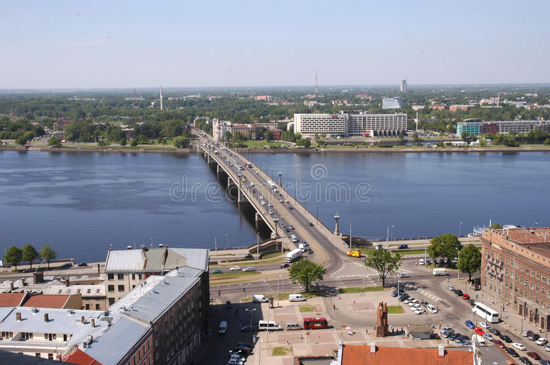 Riga. The top view on Ratushnuyu Square, Dvina and stone bridge. Europe, Baltic, Latvia, Riga. The top view on Ratushnuyu Square, Dvina and stone bridge royalty free stock photos
