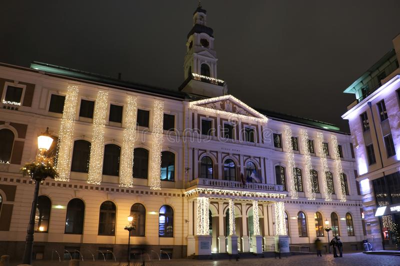 Riga Town Hall. Town Hall of Riga, the capital of Latvia. It hosts the Riga City Council, the city government. The Riga City Council consisting of 60 councilors stock images