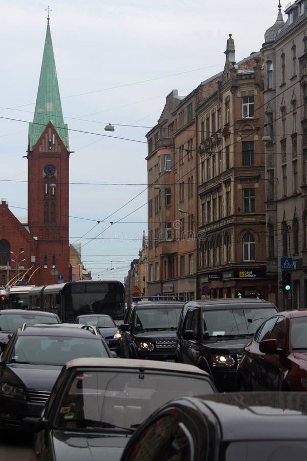 Riga-verkeer jam royalty-vrije stock afbeeldingen