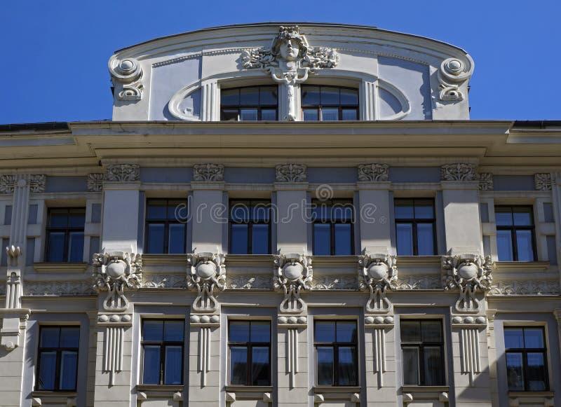 Riga, Vilandes 2, condominio, elementi della decorazione fotografia stock libera da diritti