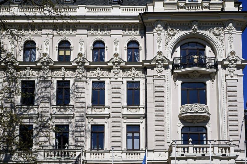 Riga, Vilandes 1, monumento storico con gli elementi moderni ed eclettico, elementi della facciata immagine stock