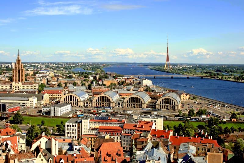 Riga von oben stockbild