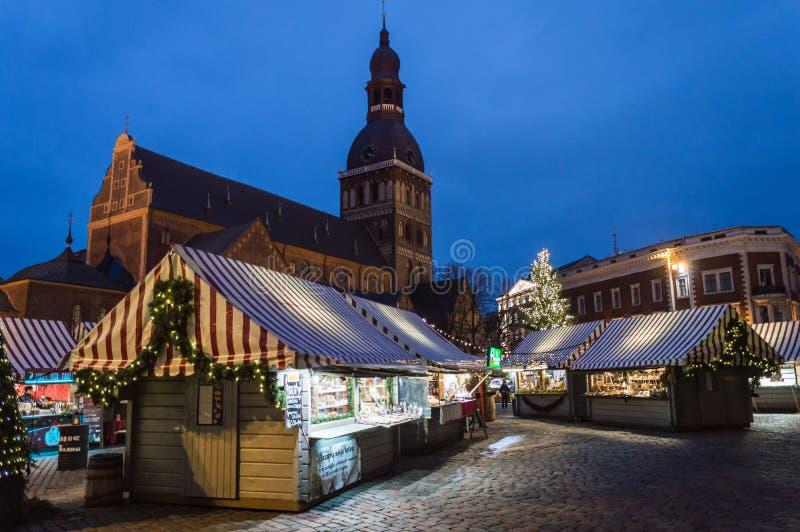 Riga-Weihnachtsmarkt 2018 stockbilder