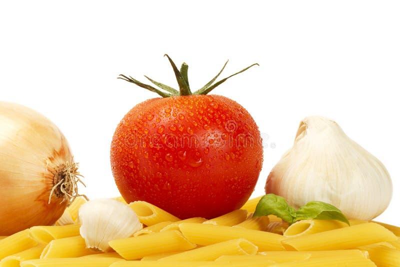 rigate penne лука garl сырцовое некоторый томат влажный стоковое фото