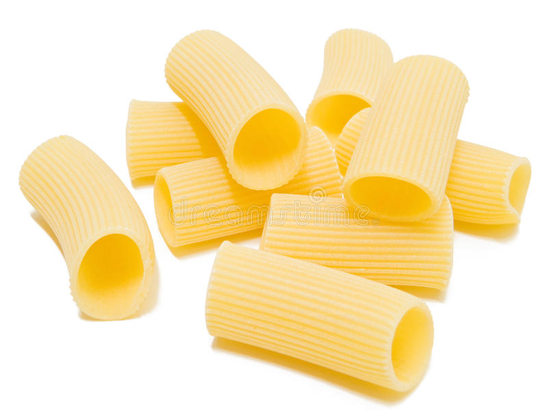 Rigatoni isolated on white. Italian pasta. stock photos
