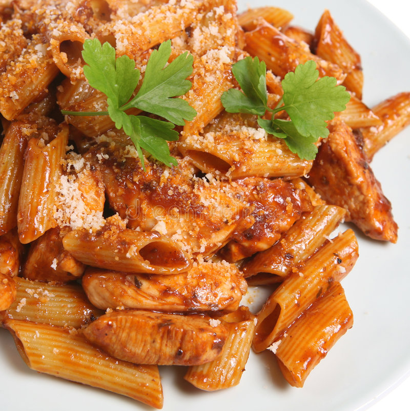 Rigatoni Pasta with Chicken stock images