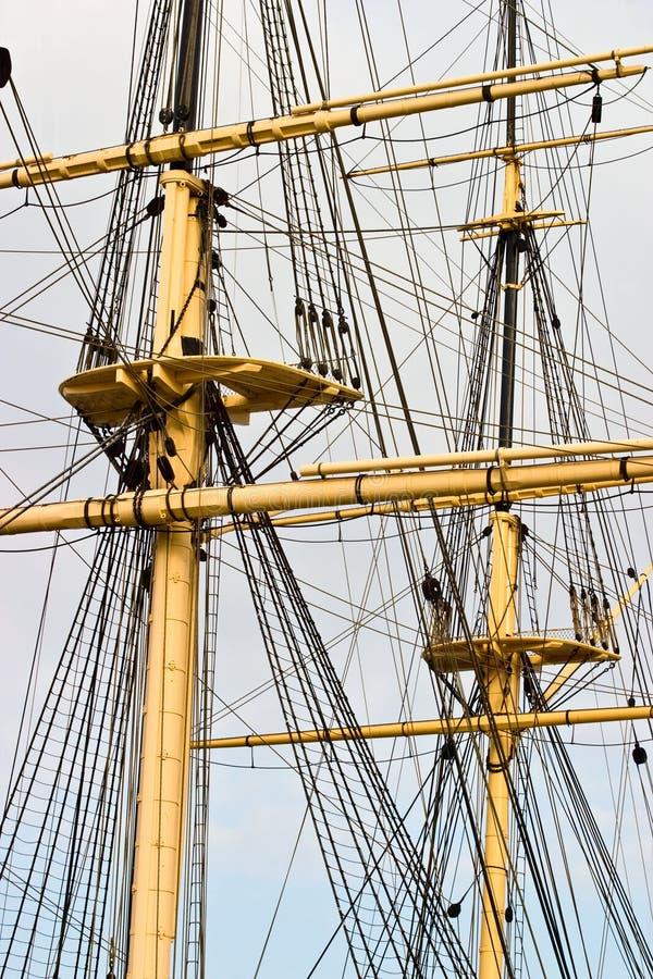 Rigg op een oud schip stock foto