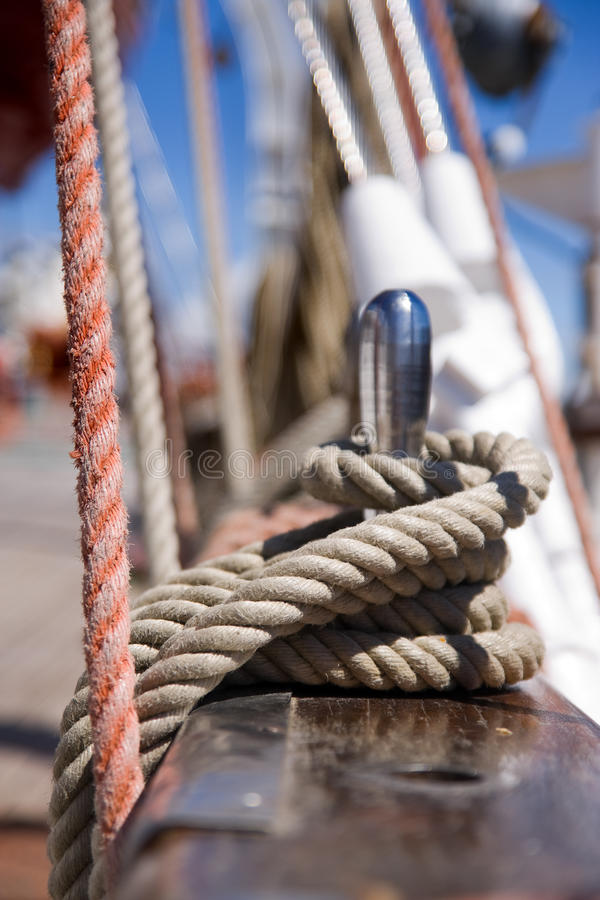 Rigging. Detail of rigging of old sail ship stock photo