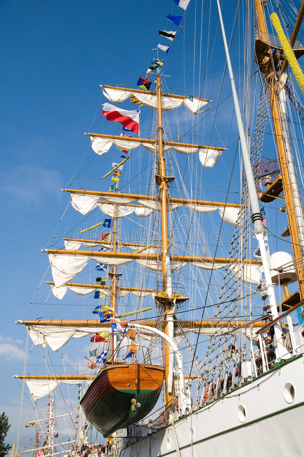 Rigging of big sailing ship. Photo taken in Szczecin during Tall Ships' Races 2007 stock images