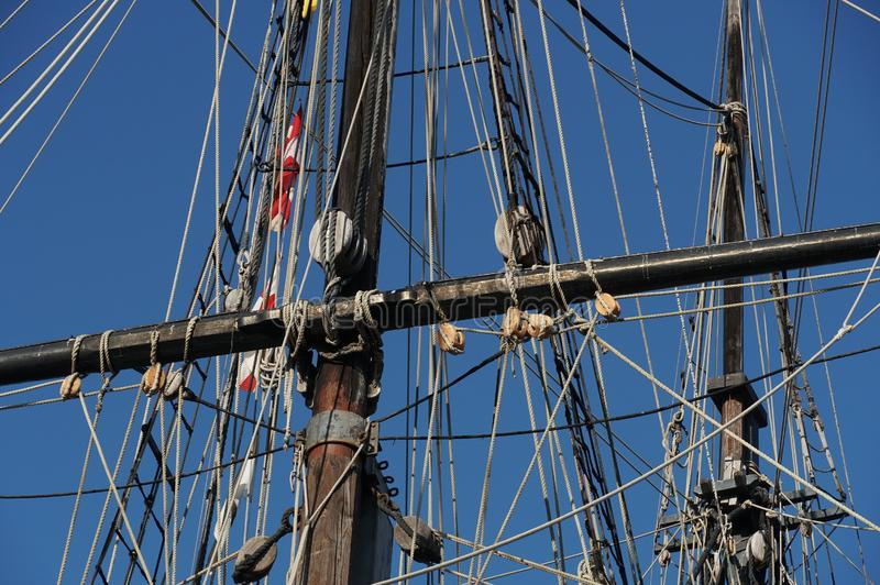 Rigging on a Tall Sailing Ship stock images