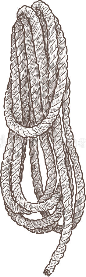 Rigging. Vector drawing of the fragment of the vessel cordage stock illustration