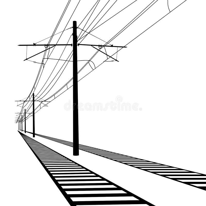 Righe ambientali della ferrovia Filo di contatto Vettore royalty illustrazione gratis