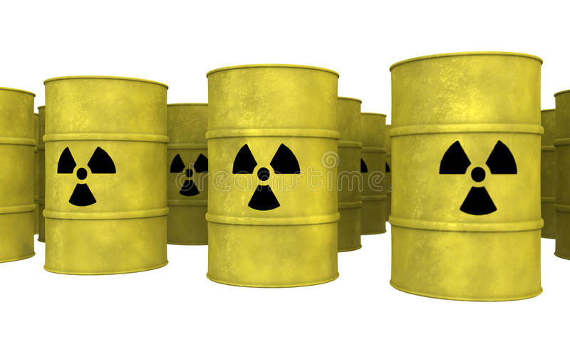 Righe del barilotto giallo dello spreco nucleare royalty illustrazione gratis