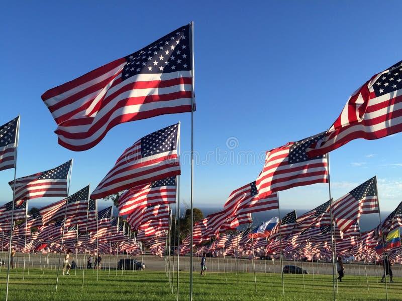 Righe delle bandiere americane fotografie stock