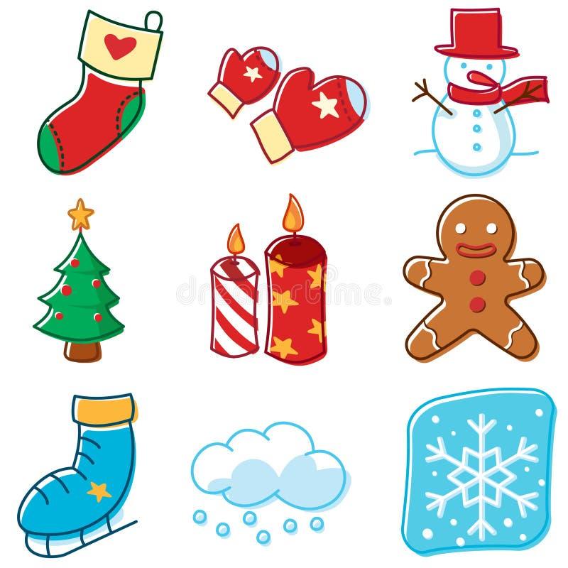 Righe semplici icone di inverno illustrazione di stock