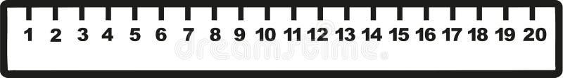 Righello con i numeri uno - dieci illustrazione di stock