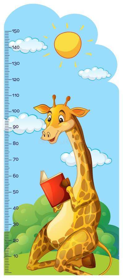 Righello del grafico di crescita con il libro di lettura della giraffa royalty illustrazione gratis