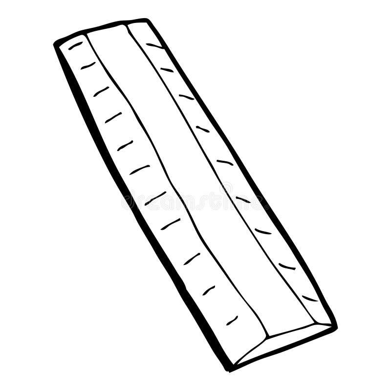 righello di legno del fumetto illustrazione di stock