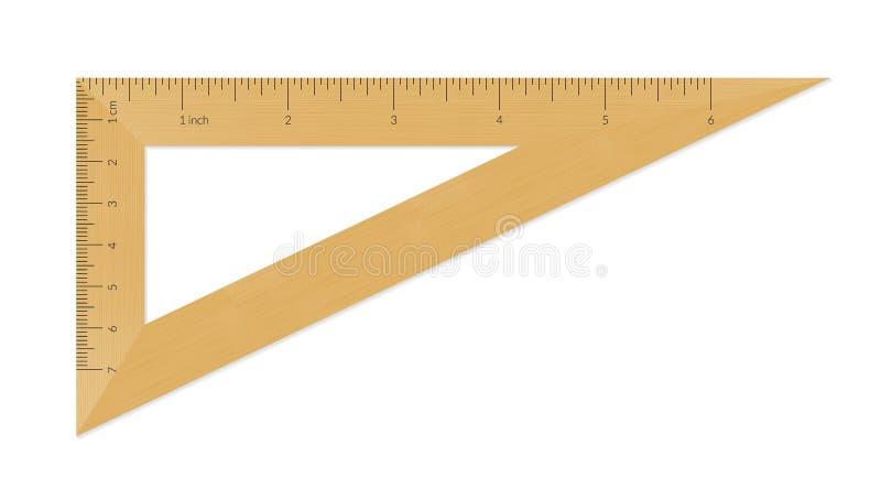 Righello di legno del triangolo illustrazione vettoriale