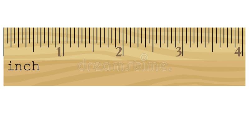Righello di legno nei pollici royalty illustrazione gratis