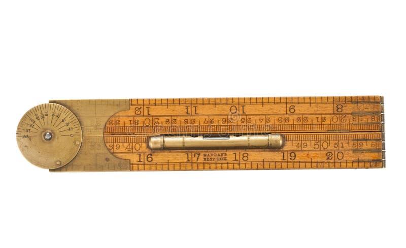 Righello di piegatura del carpentiere antico del diciannovesimo secolo fotografia stock libera da diritti