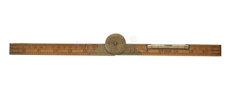 Righello di piegatura del carpentiere antico del diciannovesimo secolo fotografie stock libere da diritti