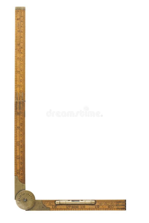 Righello di piegatura del carpentiere antico del diciannovesimo secolo fotografia stock