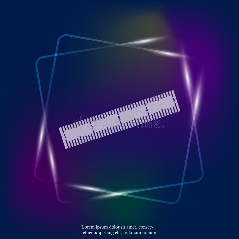Righello leggero al neon dell'icona di vettore sistema metrico Scuola che misura l illustrazione vettoriale