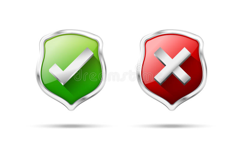 Right accept and wrong symbol protection shiled on the white bac. Kground vector illustration stock illustration