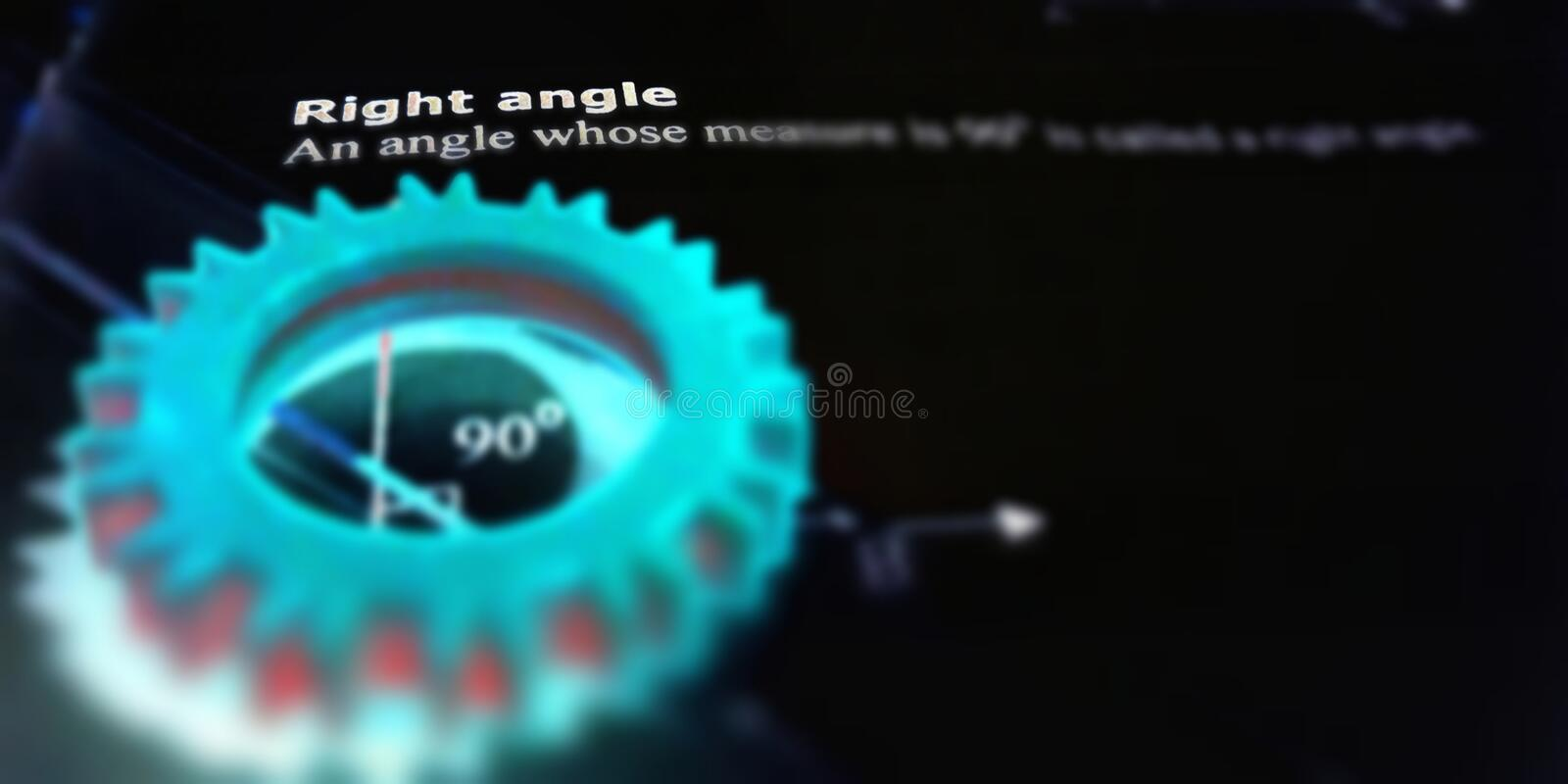 Right angle 90 degree pattern presentation on black background royalty free stock image
