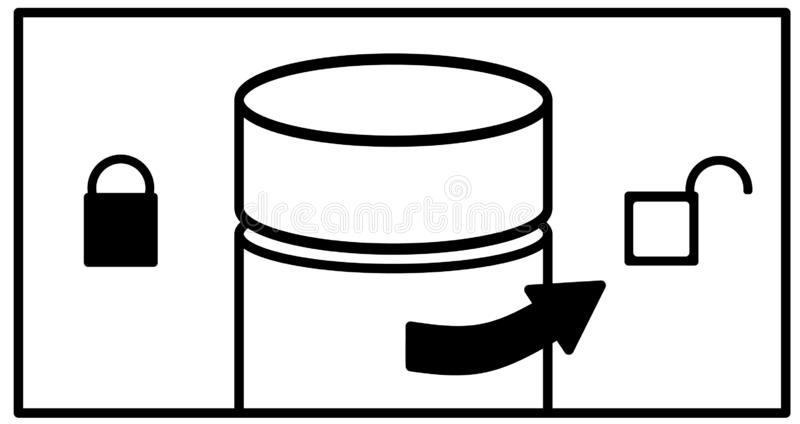Right arrow on a bottle with a cap and symbols of open and closed lock on the right and left. Instructions where to turn to open, stock illustration