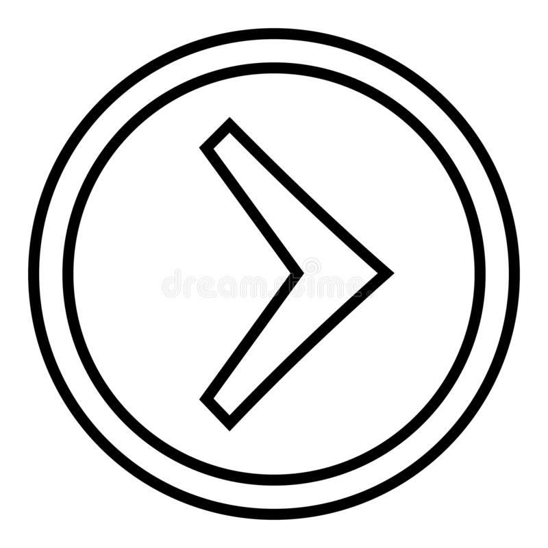 Right arrow in the circle vector. linear illustration vector icon. Line with editable stroke symbol. Right arrow in the circle vector. linear illustration royalty free illustration