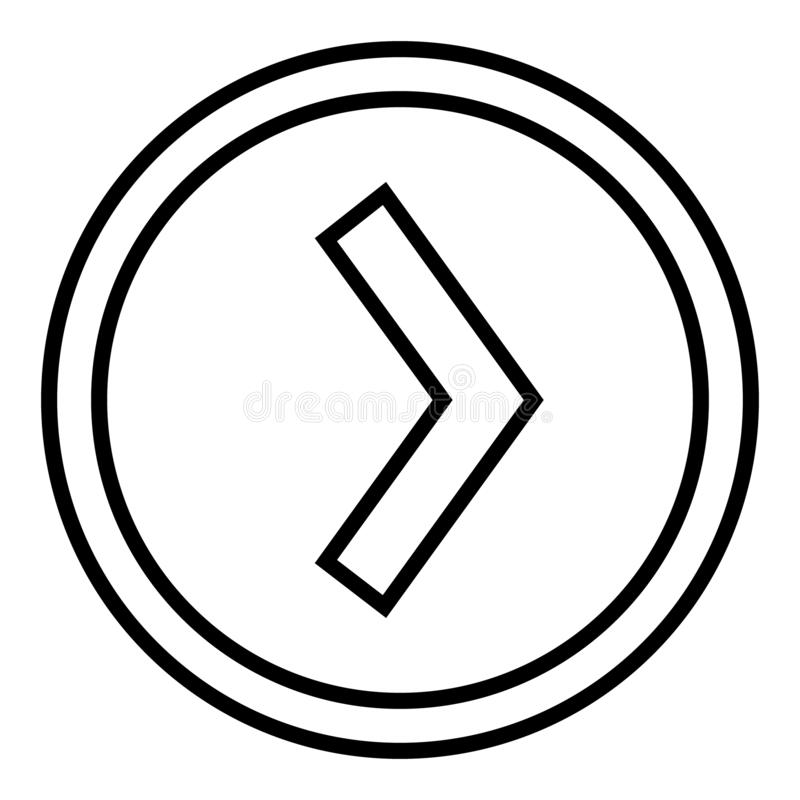 Right arrow in the circle vector. linear illustration vector icon. Line with editable stroke symbol. Right arrow in the circle vector. linear illustration stock illustration
