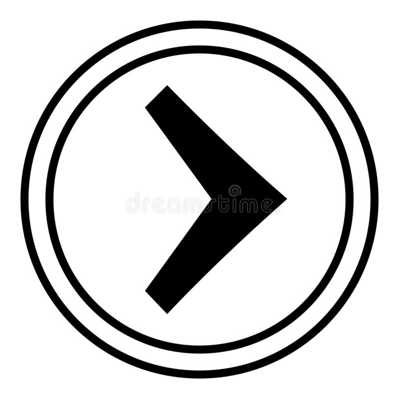 Right arrow in the circle vector. linear illustration vector icon. Line with editable stroke symbol. Right arrow in the circle vector. linear illustration vector illustration