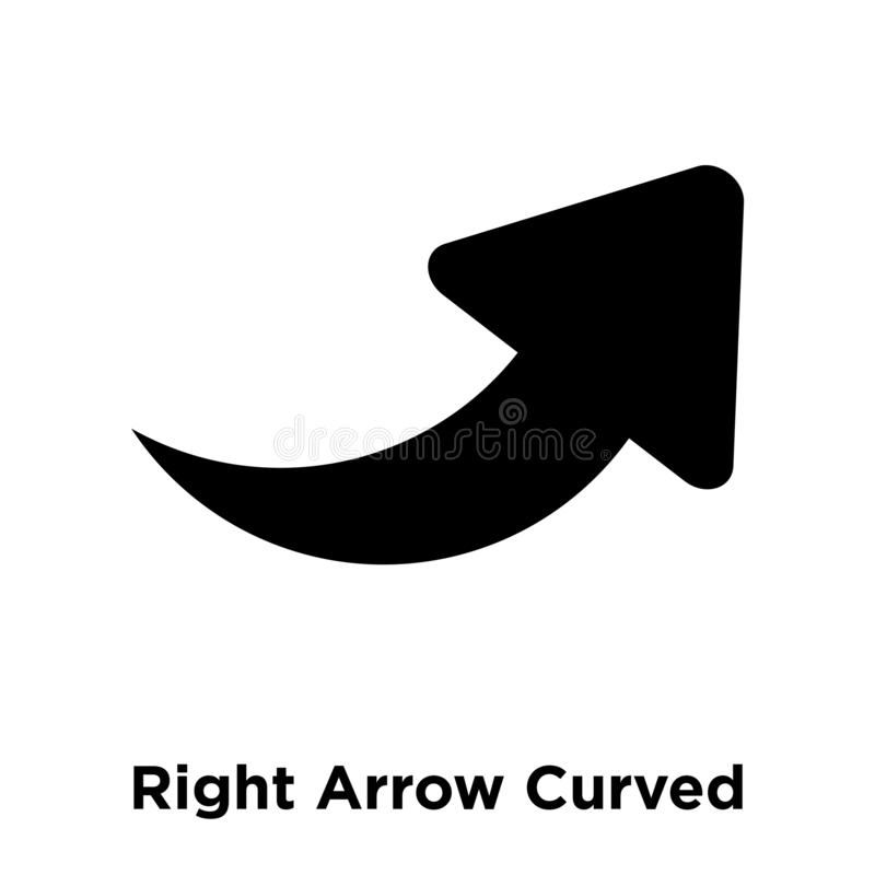 Right Arrow Curved icon vector isolated on white background, log royalty free illustration