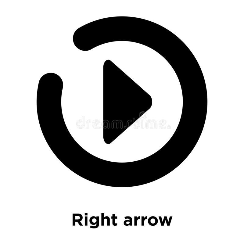 Right arrow icon vector isolated on white background, logo concept of Right arrow sign on transparent background, black filled vector illustration