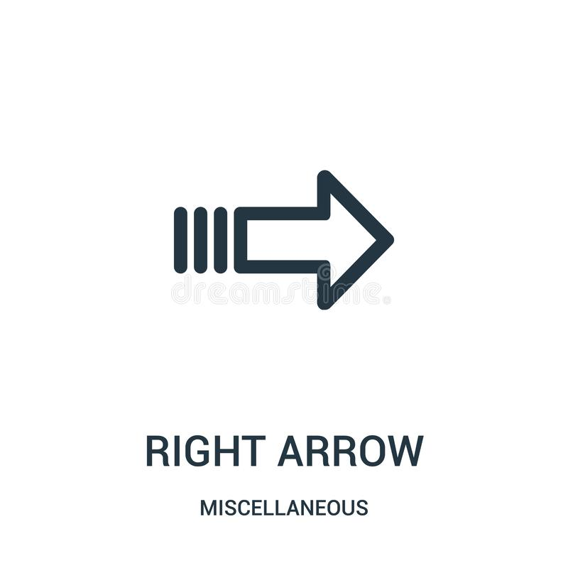 right arrow icon vector from miscellaneous collection. Thin line right arrow outline icon vector illustration. Linear symbol for vector illustration