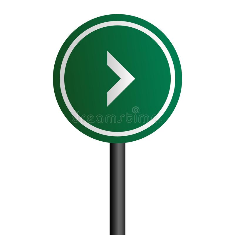 Right arrow road sign with green circle board v.1 stock illustration
