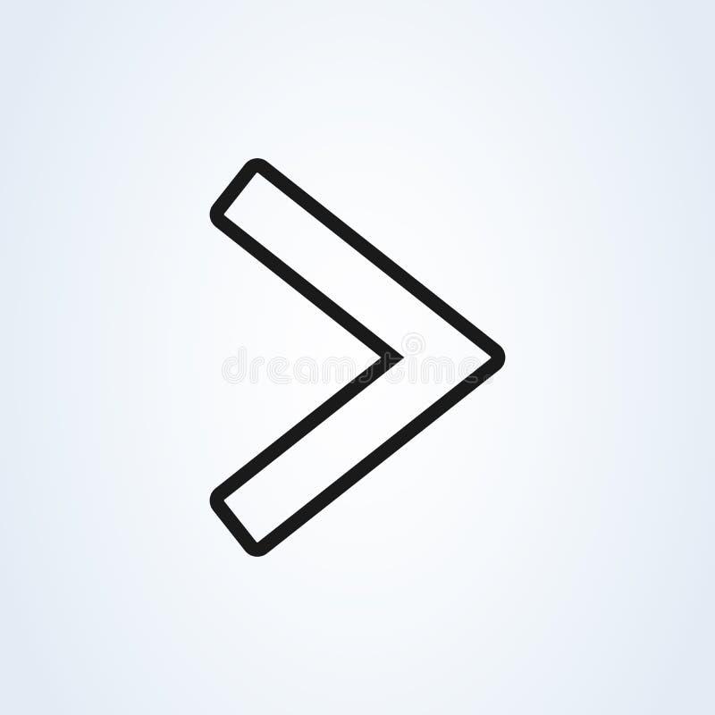 Right arrow symbol flat style line art. icon isolated on white background. Vector illustration stock illustration