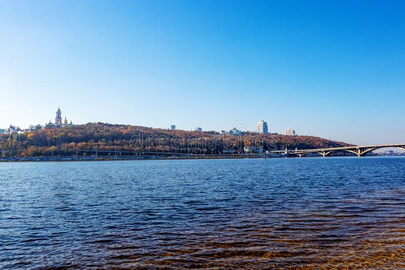 The right bank of the city of Kiev Metro the Dnieper River Ukraine, Kiev 22.10.2018. The right bank of the city of Kiev Metro bridge on the Dnieper River Ukraine royalty free stock photo