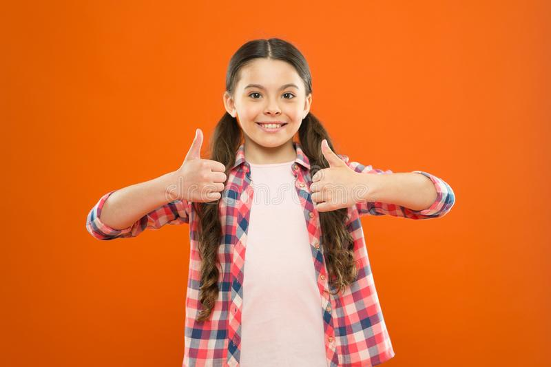 Right choice. Recommendations and advice. Girl cute child show thumbs up gesture. Kid show thumbs up. Girl happy fond of. Or highly recommend. Thumbs up or like stock photos