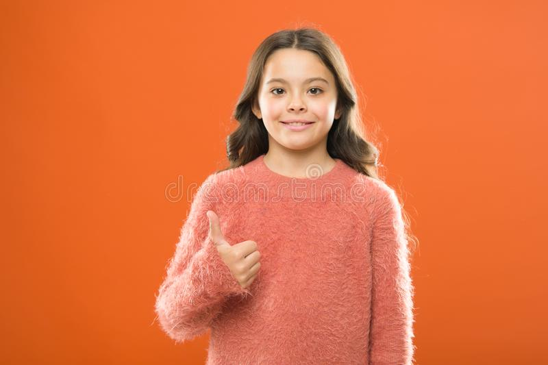 Right choice. Recommendations concept. Girl child show thumb up gesture. Kid show thumb up. Girl happy highly recommend. High quality product. Satisfied stock photos
