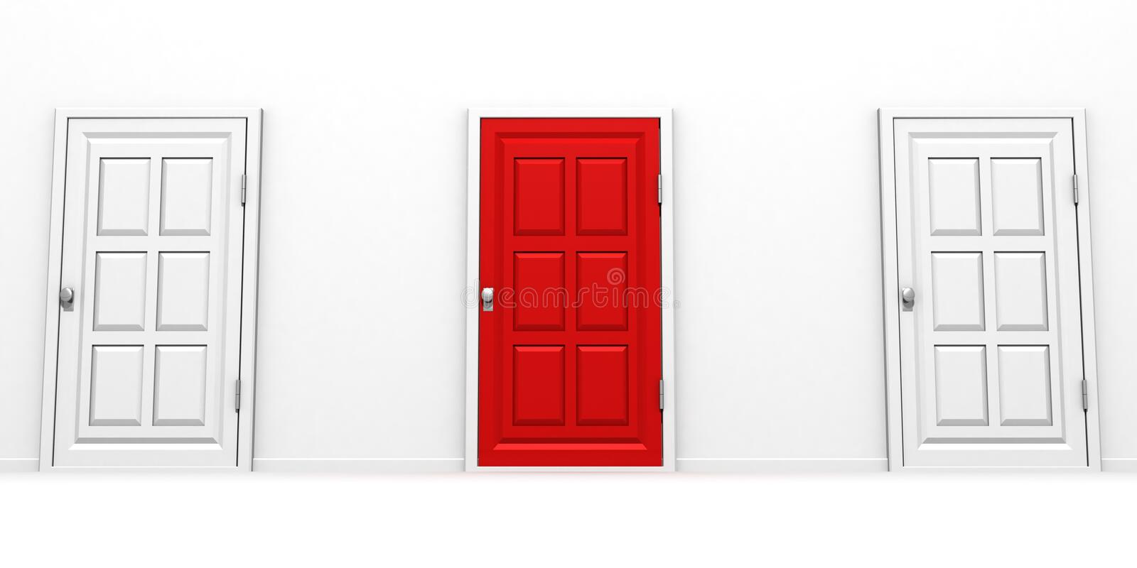 Right choice red and white door success concept stock illustration