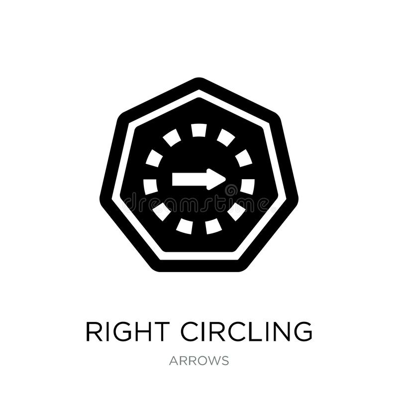 Right circling arrow icon in trendy design style. right circling arrow icon isolated on white background. right circling arrow. Vector icon simple and modern stock illustration