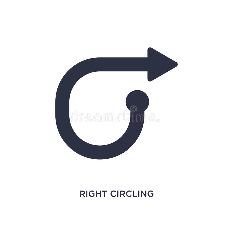 Right circling arrow icon on white background. Simple element illustration from arrows concept. Right circling arrow isolated icon. Simple element illustration royalty free illustration