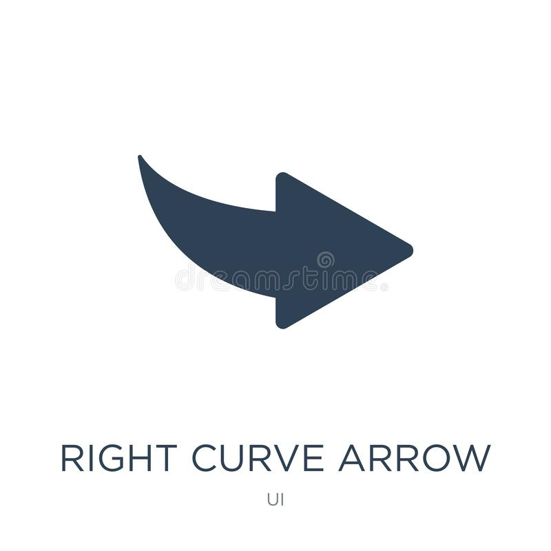 Right curve arrow icon in trendy design style. right curve arrow icon isolated on white background. right curve arrow vector icon. Simple and modern flat symbol vector illustration