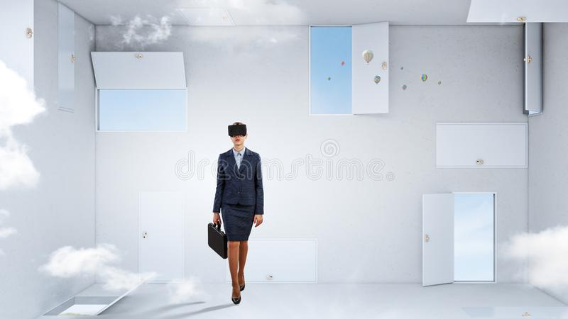 Right decision making and virtual reality. Mixed media royalty free stock photography