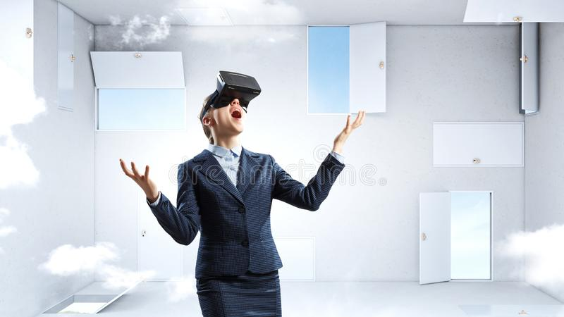 Right decision making and virtual reality. Mixed media stock images